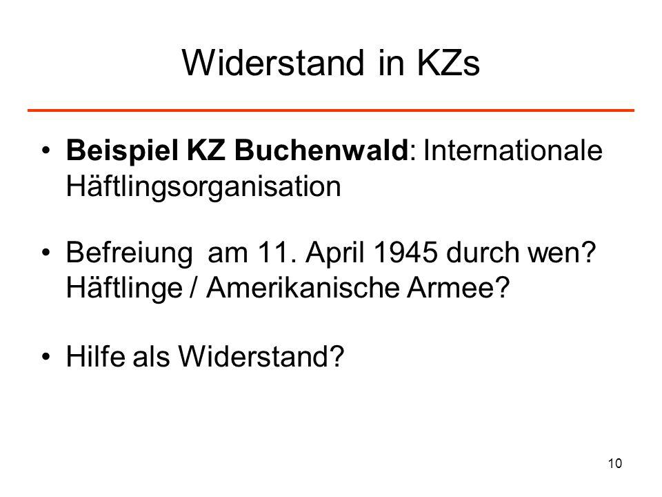 Widerstand in KZs Beispiel KZ Buchenwald: Internationale Häftlingsorganisation.