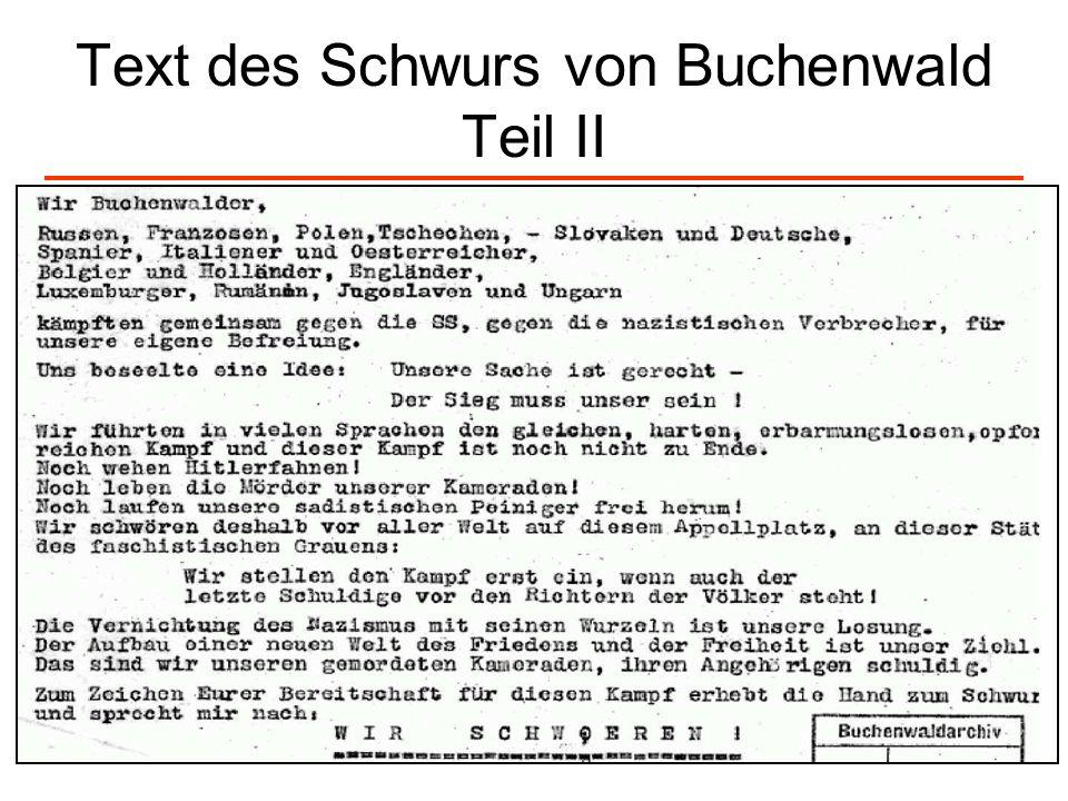 Text des Schwurs von Buchenwald Teil II