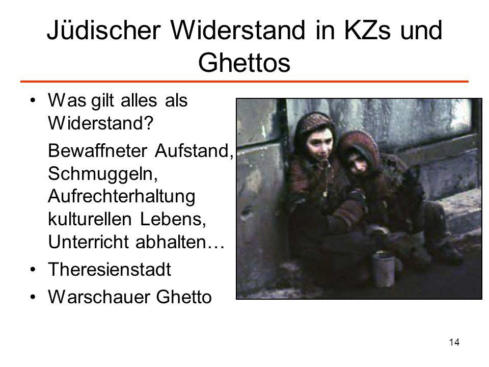 Jüdischer Widerstand in KZs und Ghettos