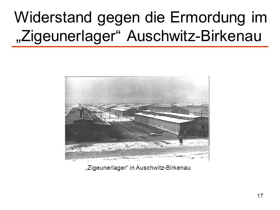 """Widerstand gegen die Ermordung im """"Zigeunerlager Auschwitz-Birkenau"""