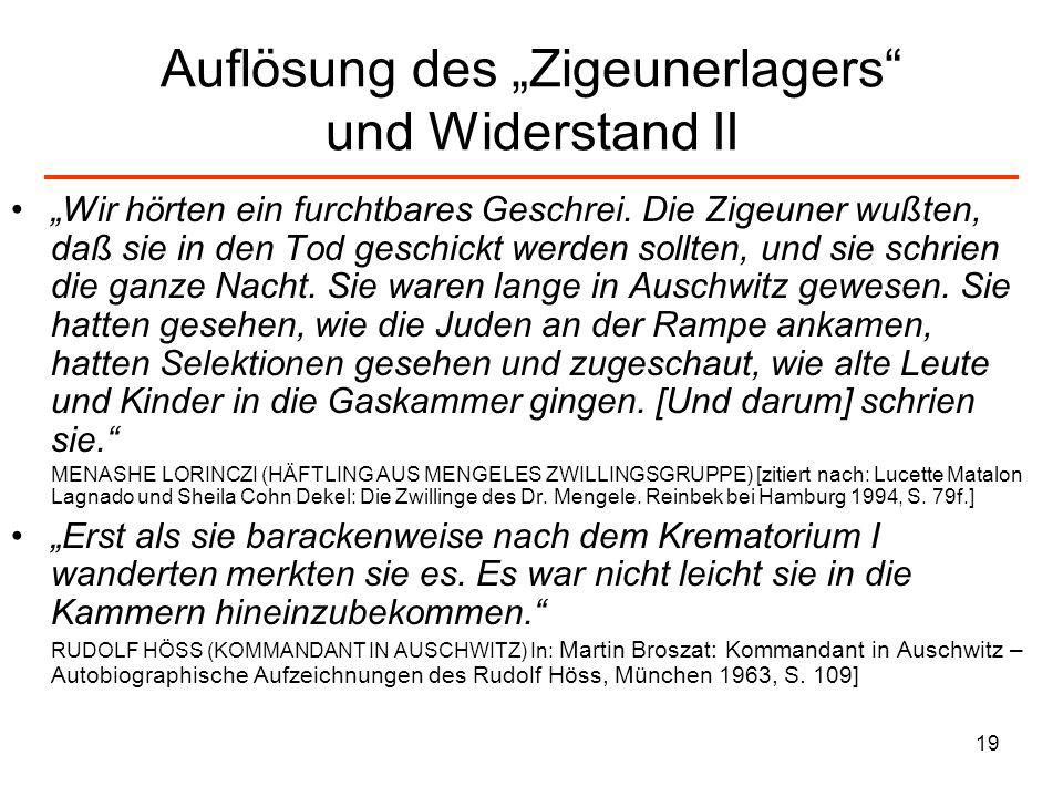 """Auflösung des """"Zigeunerlagers und Widerstand II"""
