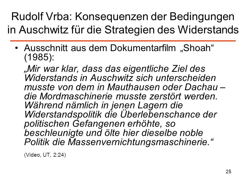 Rudolf Vrba: Konsequenzen der Bedingungen in Auschwitz für die Strategien des Widerstands