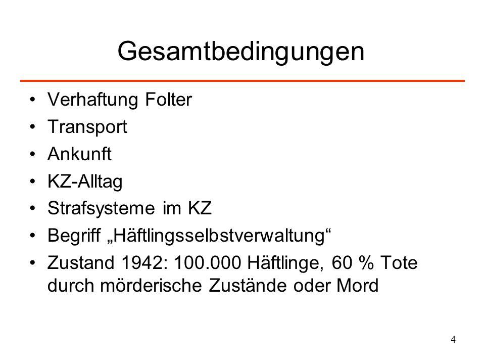 Gesamtbedingungen Verhaftung Folter Transport Ankunft KZ-Alltag