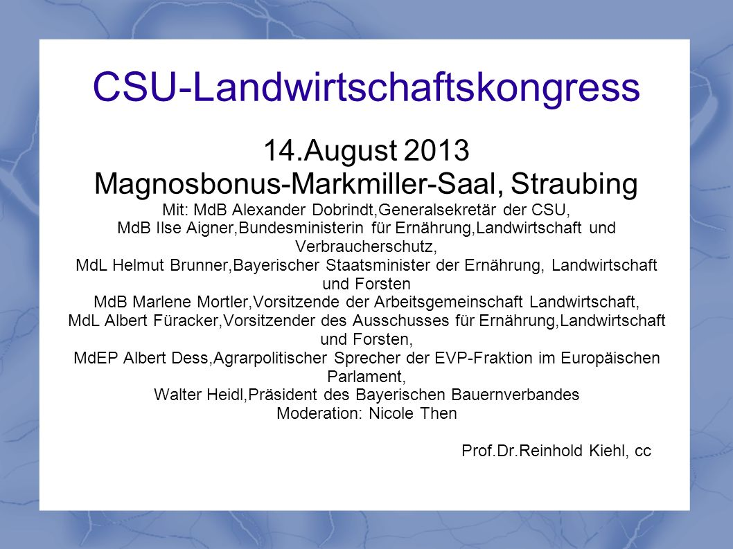 CSU-Landwirtschaftskongress