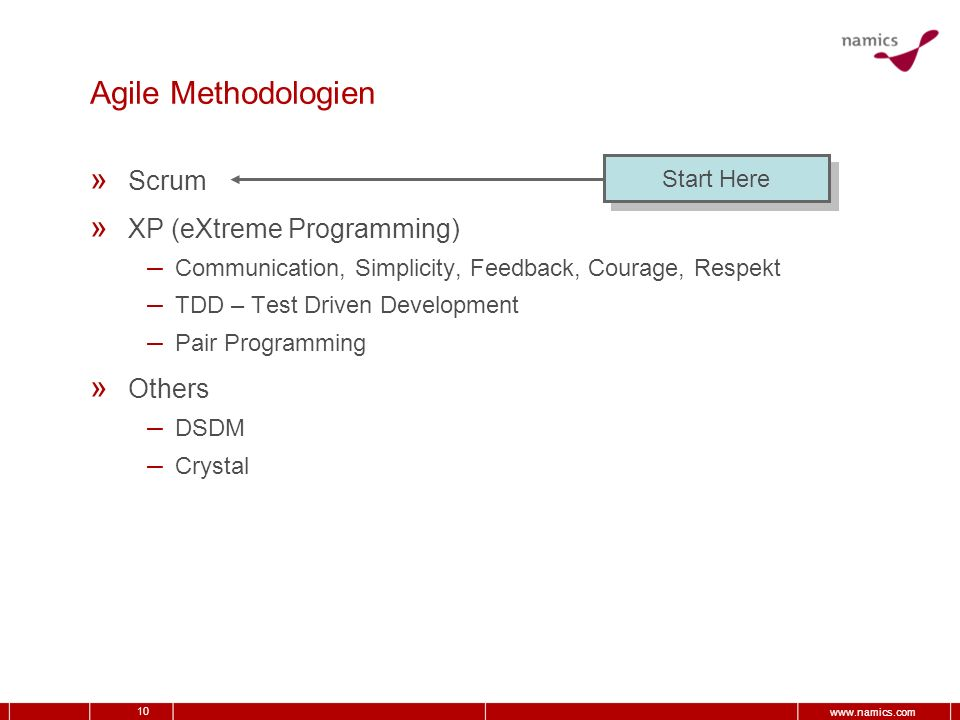 Agile Methodologien Scrum XP (eXtreme Programming) Others Start Here