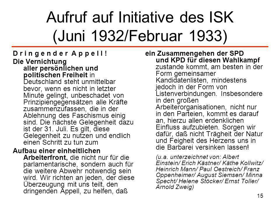 Aufruf auf Initiative des ISK (Juni 1932/Februar 1933)