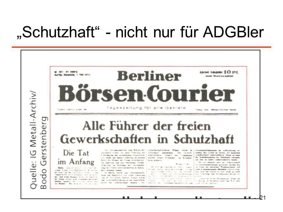 """""""Schutzhaft - nicht nur für ADGBler"""