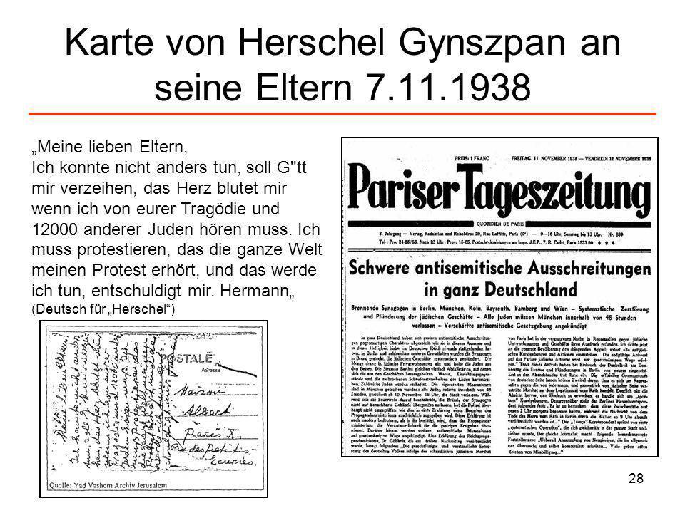 Karte von Herschel Gynszpan an seine Eltern 7.11.1938