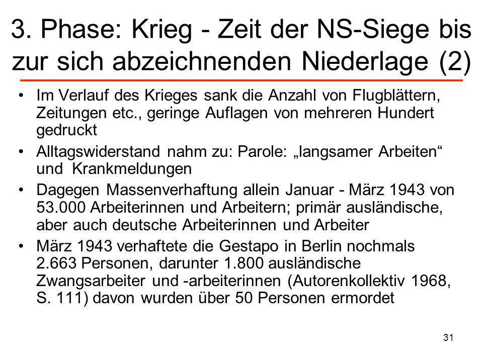 3. Phase: Krieg - Zeit der NS-Siege bis zur sich abzeichnenden Niederlage (2)