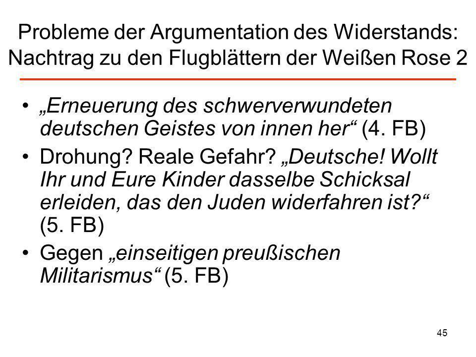 Probleme der Argumentation des Widerstands: Nachtrag zu den Flugblättern der Weißen Rose 2