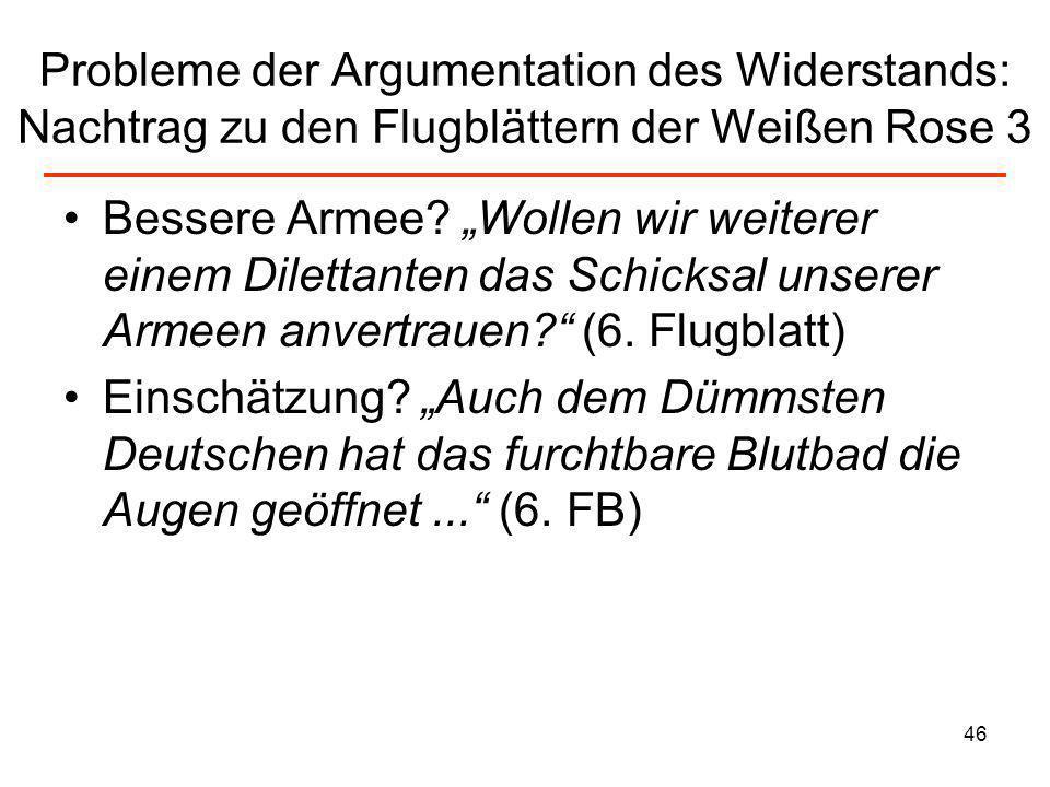 Probleme der Argumentation des Widerstands: Nachtrag zu den Flugblättern der Weißen Rose 3