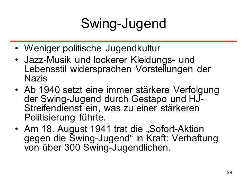 Swing-Jugend Weniger politische Jugendkultur