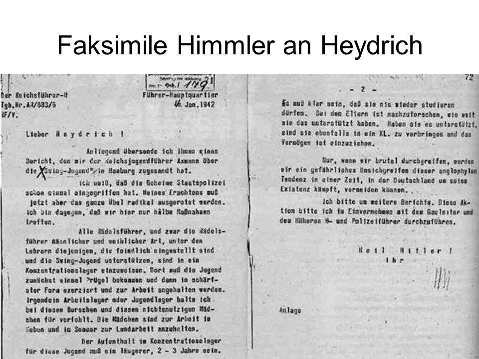 Faksimile Himmler an Heydrich