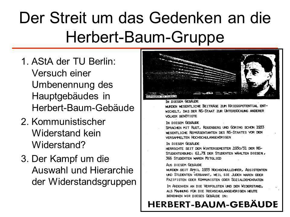 Der Streit um das Gedenken an die Herbert-Baum-Gruppe