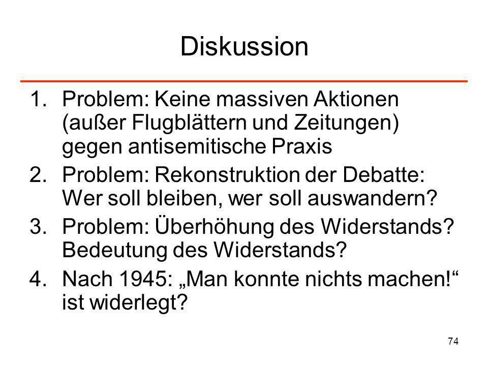 Diskussion Problem: Keine massiven Aktionen (außer Flugblättern und Zeitungen) gegen antisemitische Praxis.