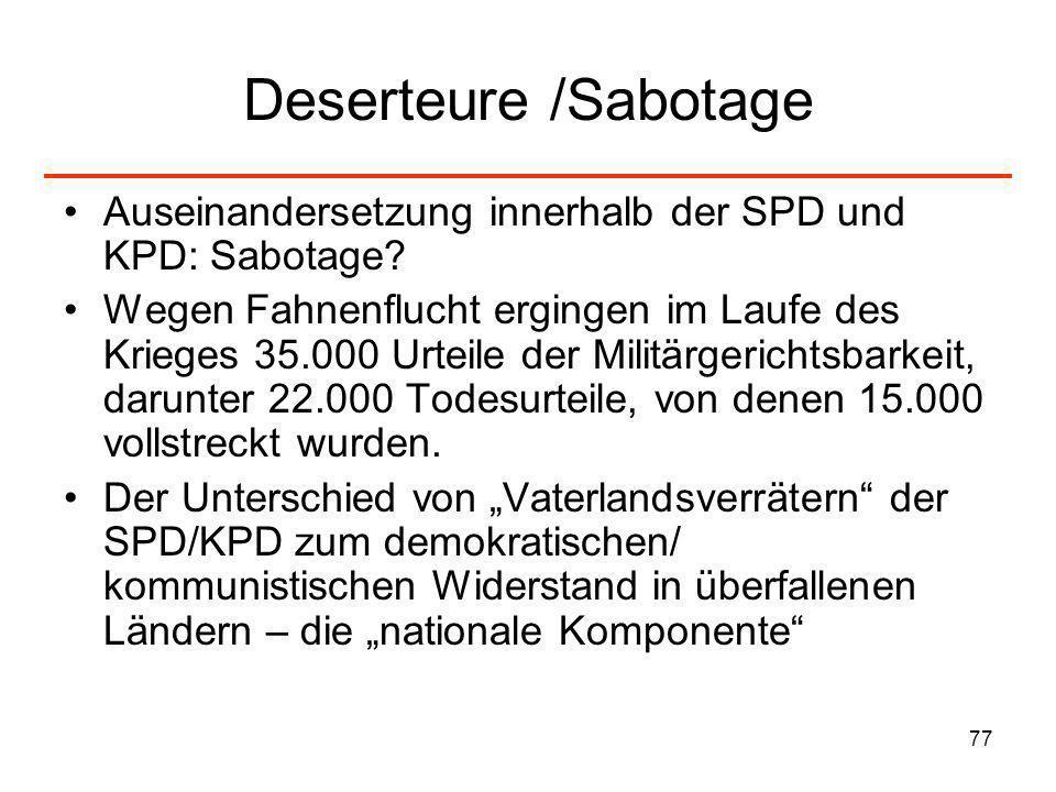 Deserteure /Sabotage Auseinandersetzung innerhalb der SPD und KPD: Sabotage