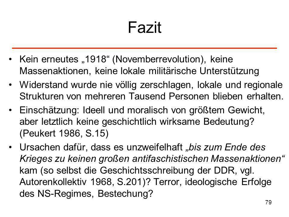 """Fazit Kein erneutes """"1918 (Novemberrevolution), keine Massenaktionen, keine lokale militärische Unterstützung."""