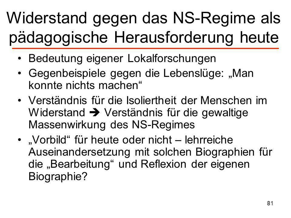 Widerstand gegen das NS-Regime als pädagogische Herausforderung heute