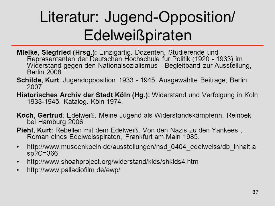 Literatur: Jugend-Opposition/ Edelweißpiraten