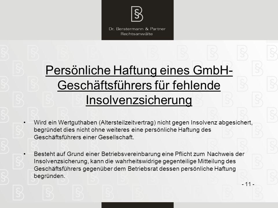 Persönliche Haftung eines GmbH-Geschäftsführers für fehlende Insolvenzsicherung