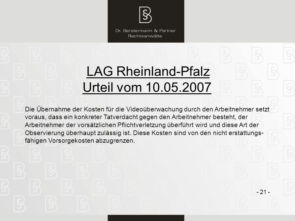 Urteil vom 10.05.2007 LAG Rheinland-Pfalz