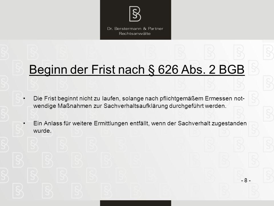 Beginn der Frist nach § 626 Abs. 2 BGB