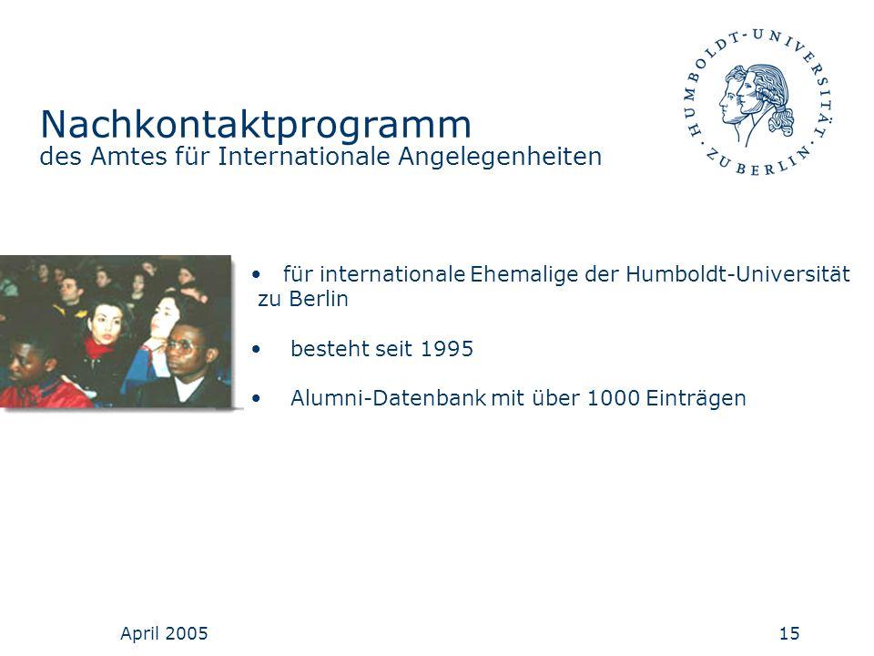 Nachkontaktprogramm des Amtes für Internationale Angelegenheiten