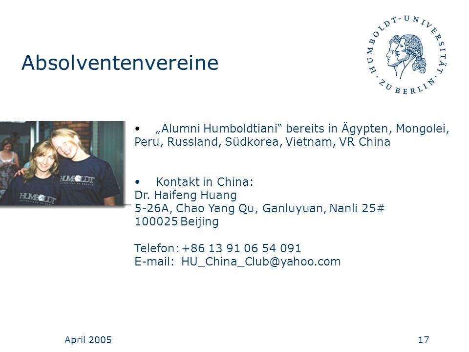 """Absolventenvereine """"Alumni Humboldtiani bereits in Ägypten, Mongolei,"""