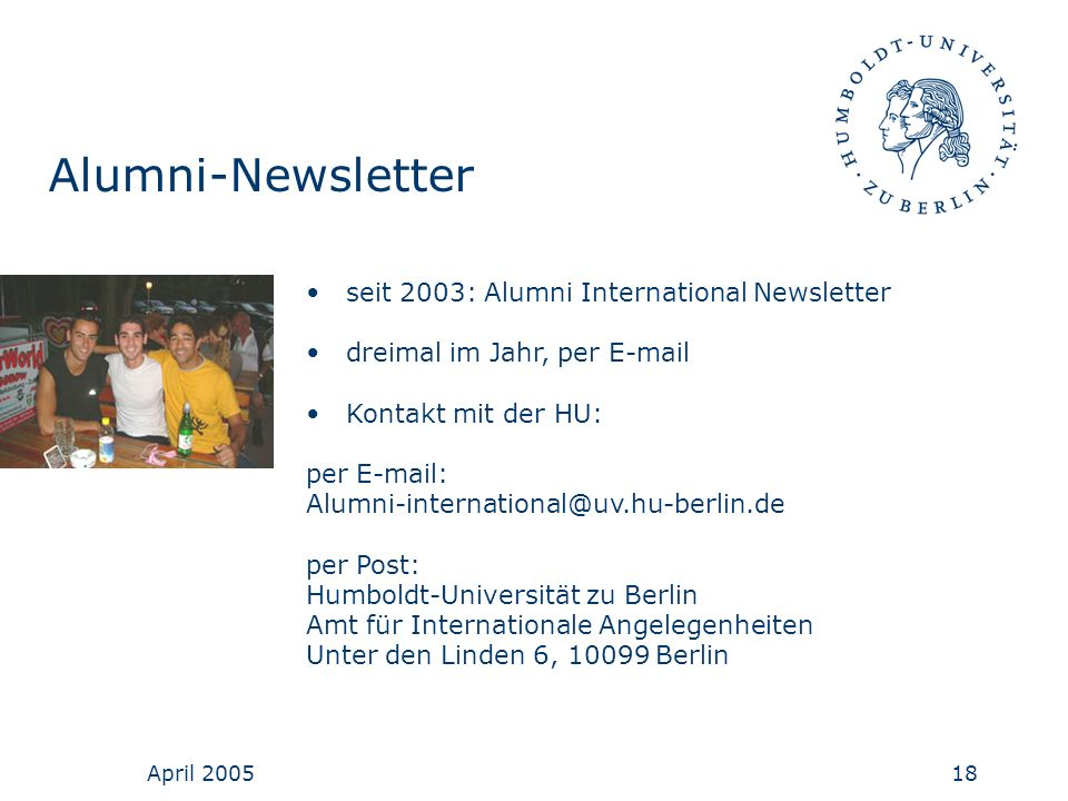 Alumni-Newsletter seit 2003: Alumni International Newsletter