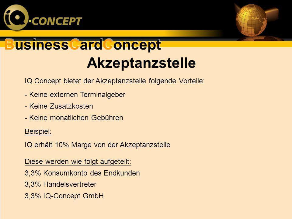 Akzeptanzstelle IQ Concept bietet der Akzeptanzstelle folgende Vorteile: - Keine externen Terminalgeber.