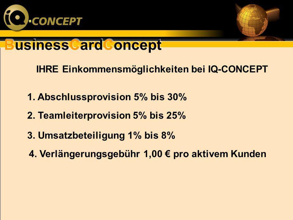 IHRE Einkommensmöglichkeiten bei IQ-CONCEPT