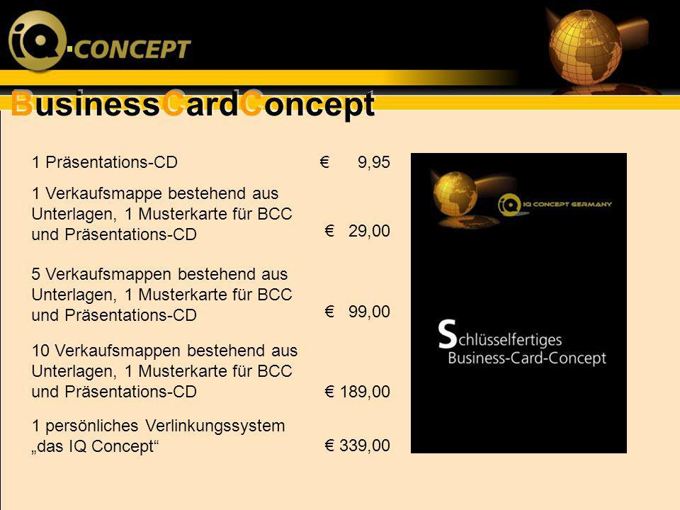 1 Präsentations-CD€ 9,95. 1 Verkaufsmappe bestehend aus Unterlagen, 1 Musterkarte für BCC und Präsentations-CD.