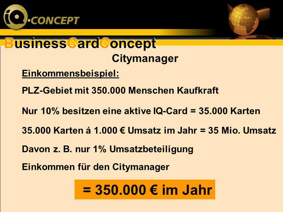 = 350.000 € im Jahr Citymanager Einkommensbeispiel: