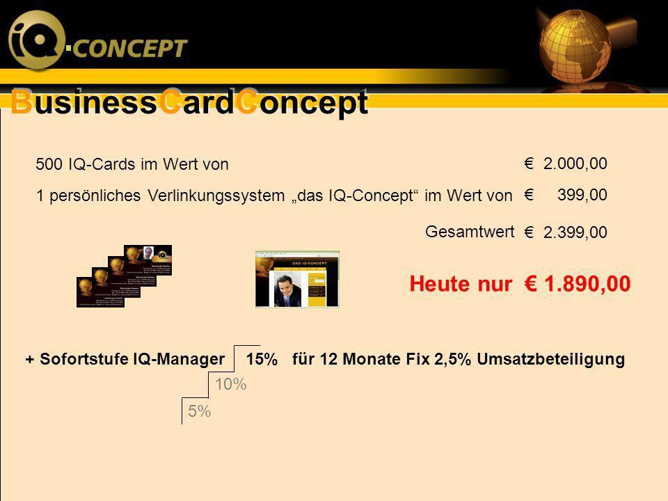 Heute nur € 1.890,00 500 IQ-Cards im Wert von € 2.000,00