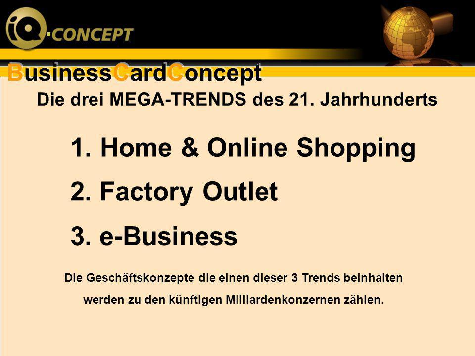 Home & Online Shopping 2. Factory Outlet 3. e-Business
