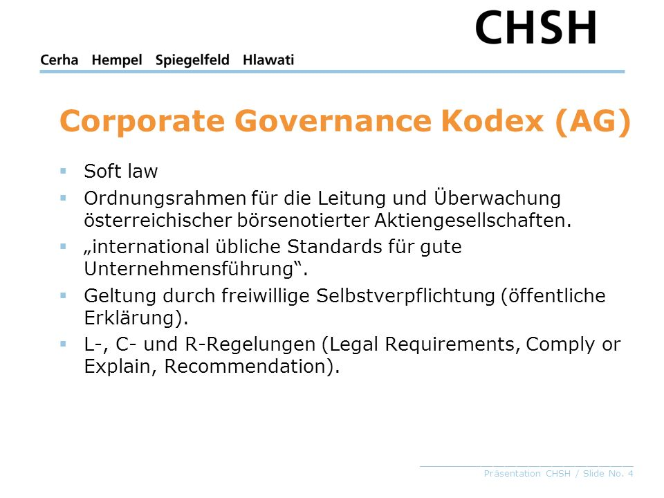Corporate Governance Kodex (AG)