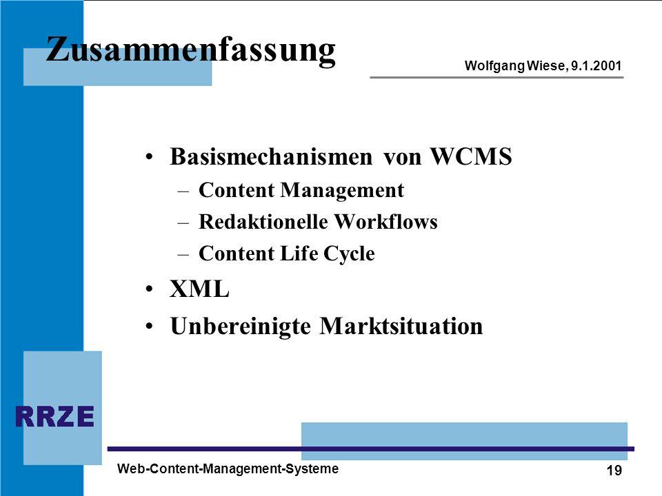 Zusammenfassung Basismechanismen von WCMS XML