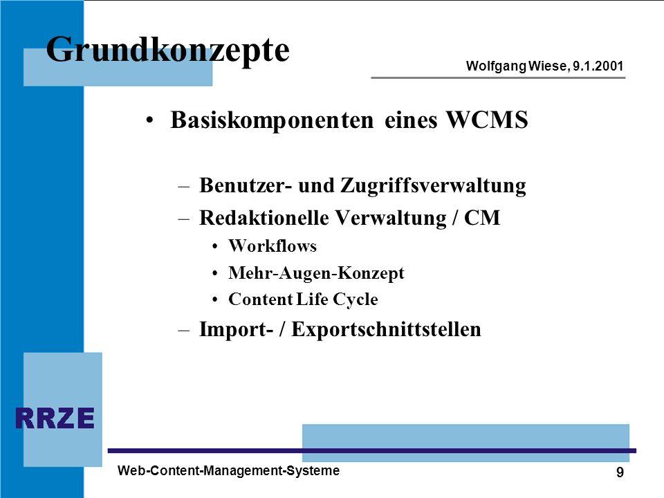 Grundkonzepte Basiskomponenten eines WCMS