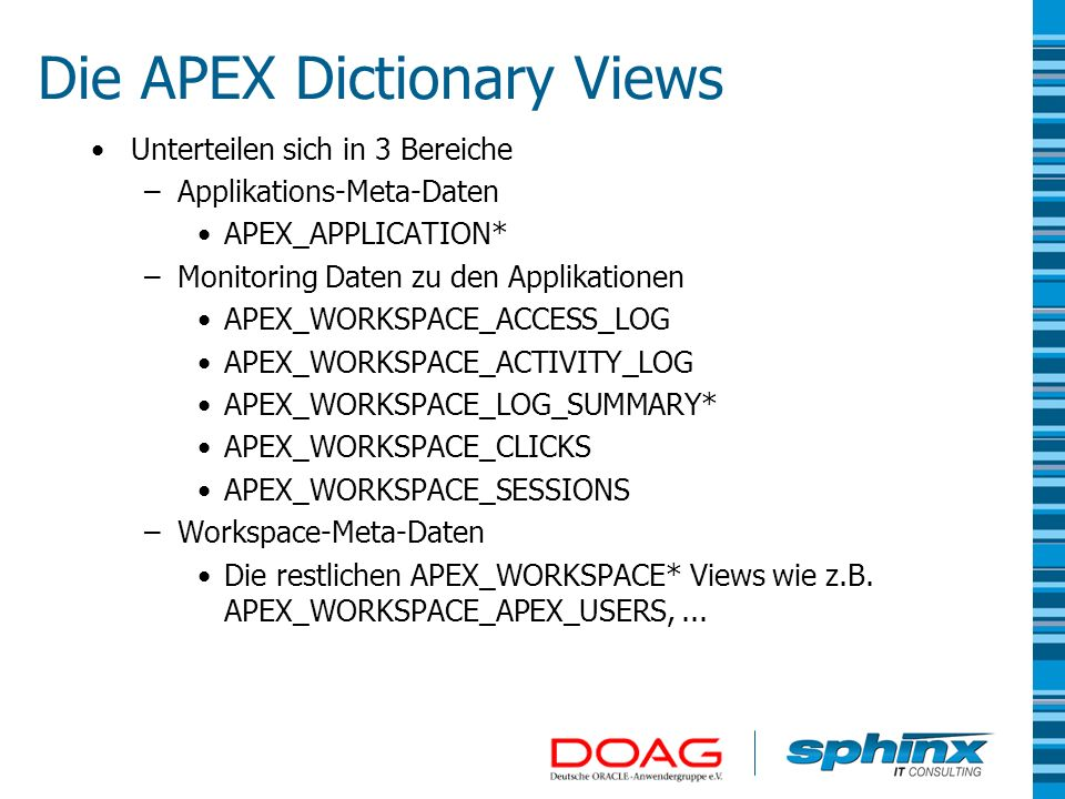 Die APEX Dictionary Views