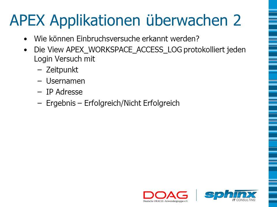 APEX Applikationen überwachen 2