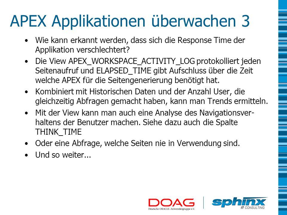 APEX Applikationen überwachen 3