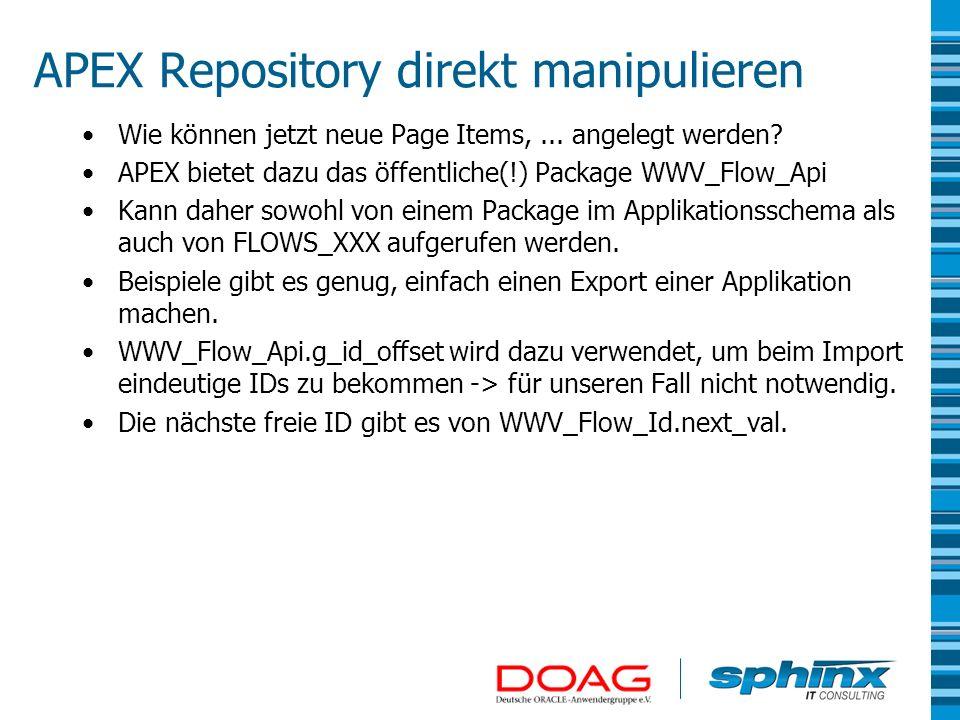 APEX Repository direkt manipulieren
