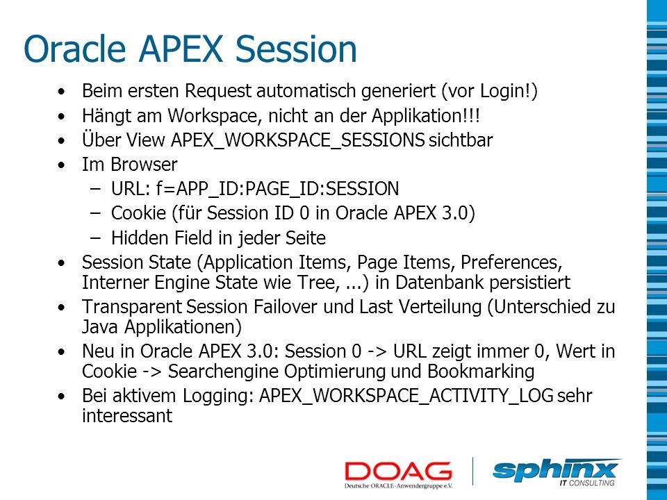 Oracle APEX Session Beim ersten Request automatisch generiert (vor Login!) Hängt am Workspace, nicht an der Applikation!!!