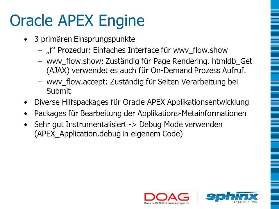 Oracle APEX Engine 3 primären Einsprungspunkte