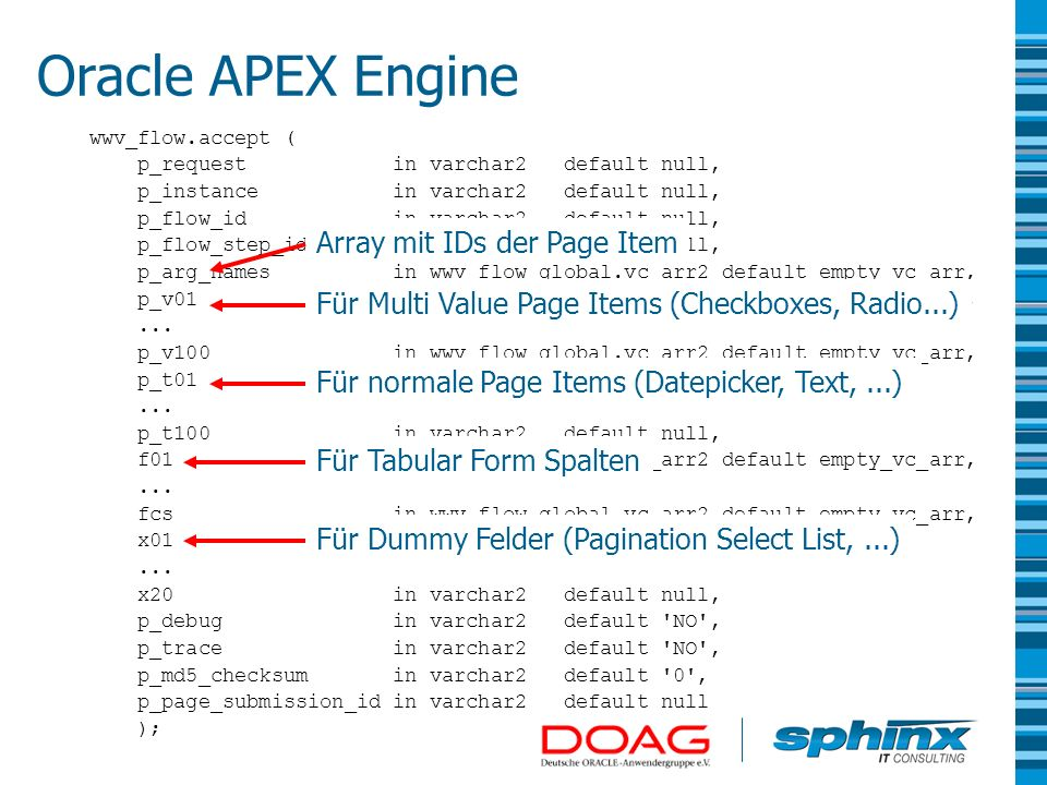 Oracle APEX Engine Array mit IDs der Page Item