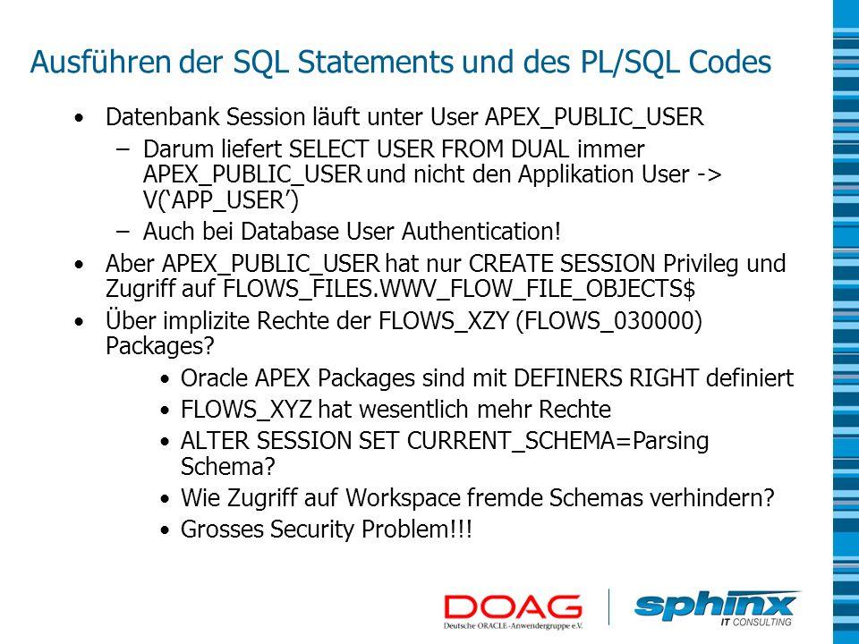 Ausführen der SQL Statements und des PL/SQL Codes