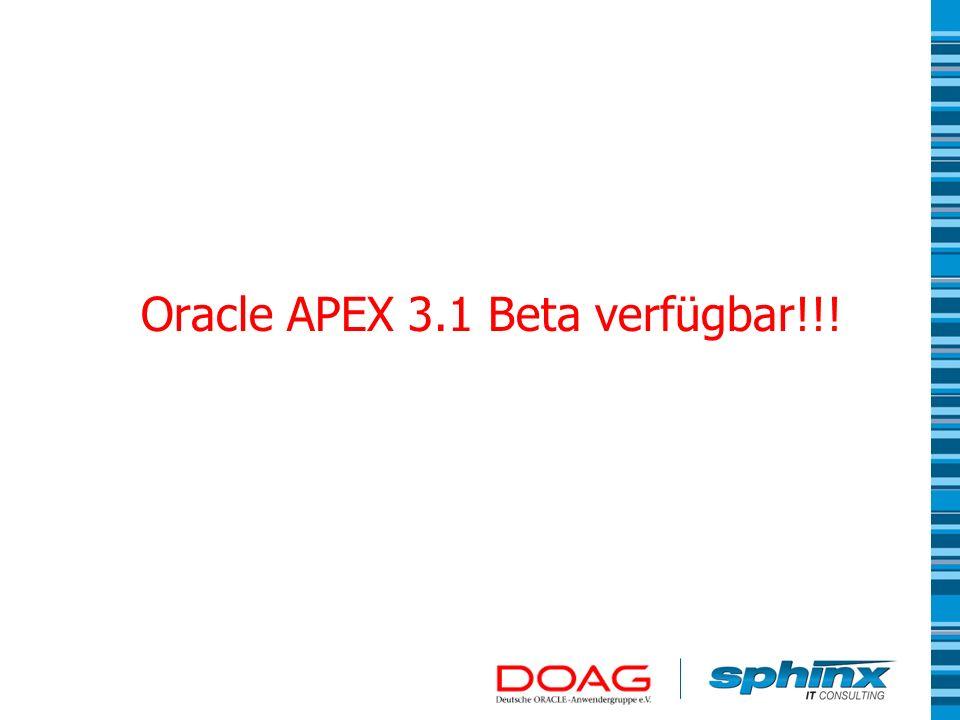 Oracle APEX 3.1 Beta verfügbar!!!