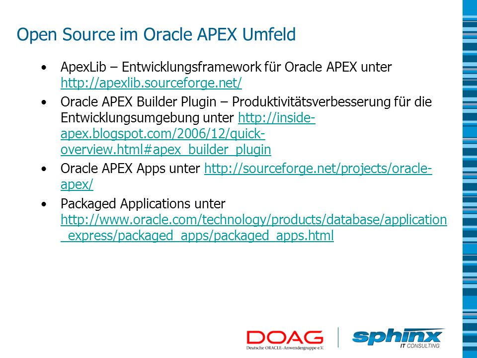 Open Source im Oracle APEX Umfeld
