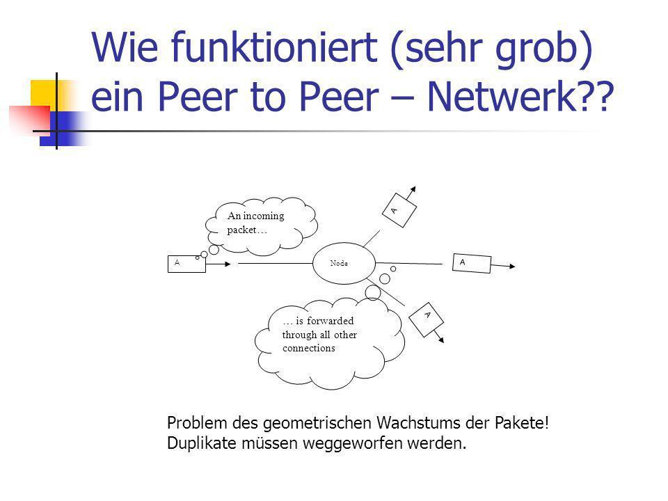 Wie funktioniert (sehr grob) ein Peer to Peer – Netwerk