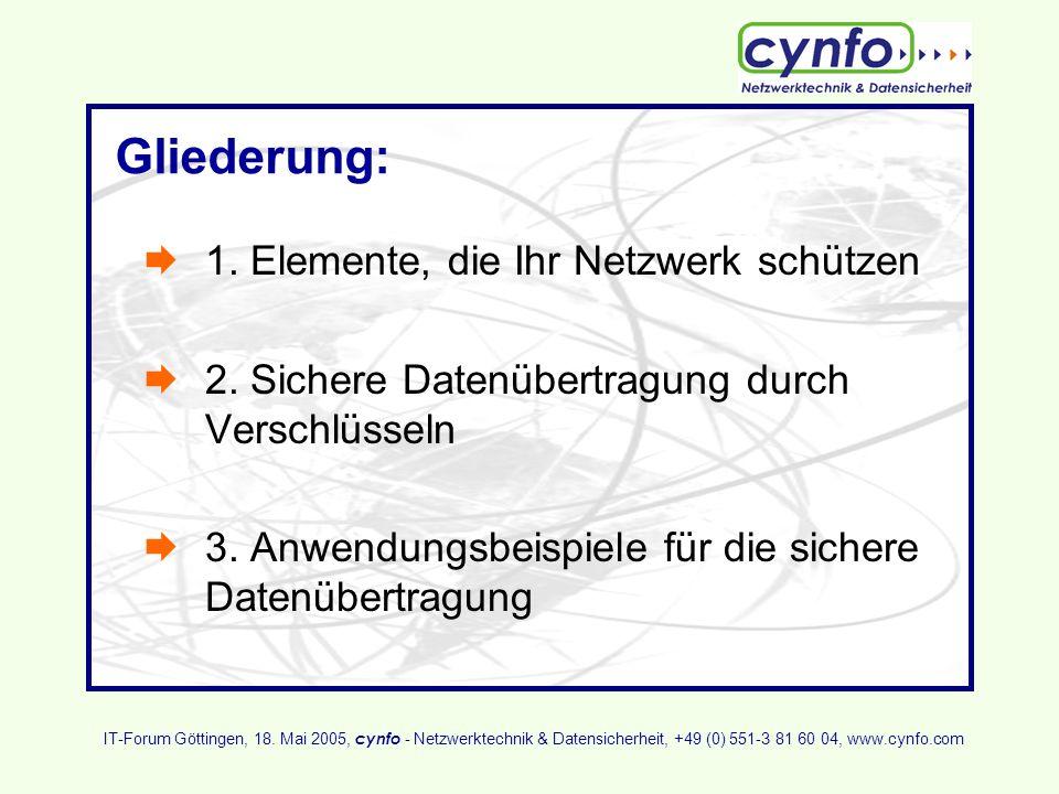 Gliederung: 1. Elemente, die Ihr Netzwerk schützen